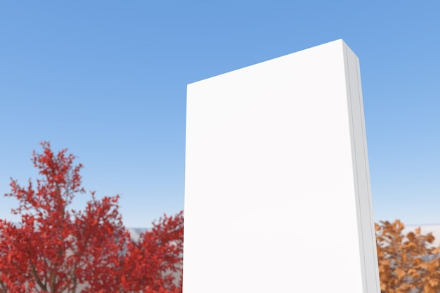 Mockup 흰색 빈 광고 빌보드 포스터 템플릿은 푸른 하늘 배경에 표시됩니다. 3d 렌더링