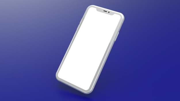 Mockup of a white cell phone with a blue gradient background. perfect for putting images of websites or applications.