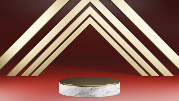 Mockup white marble and gold cylinder shape pedestal with gold decoration on red background, 3d rendering
