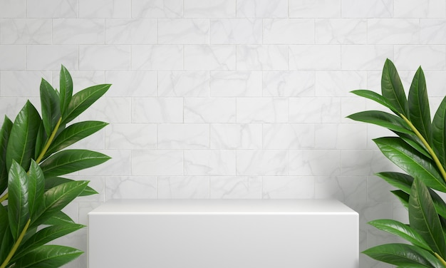 Mockup white podium display for show product with white brick marble 3d rendering