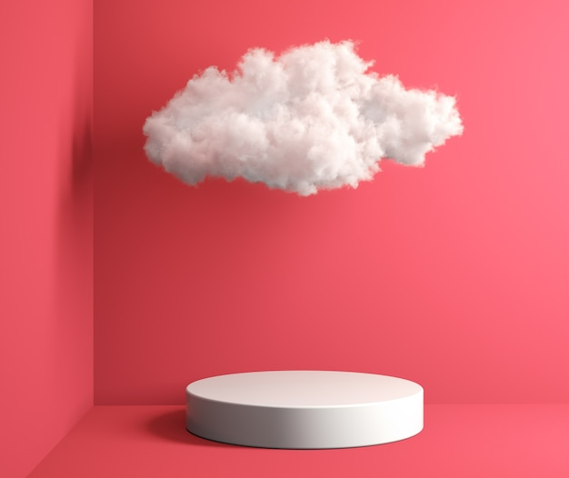 Mockup white podium and soft cloud with pink room 3d render