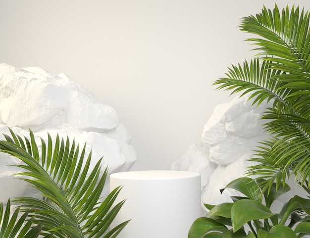 Mockup white podium with green tropical plants and rock background 3d render