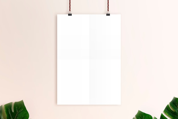 Mockup white poster on rusty pink wall background.