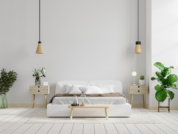 Mockup white wall in bedroom interior background,3d rendering