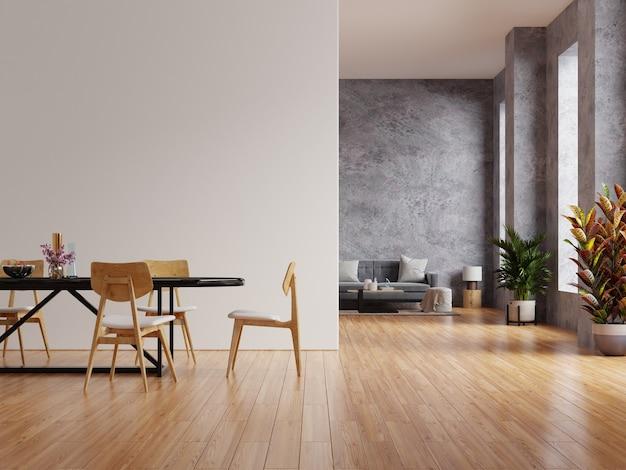 Мокап белой стены в доме в стиле лофт с диваном и аксессуарами в комнате. 3d визуализация