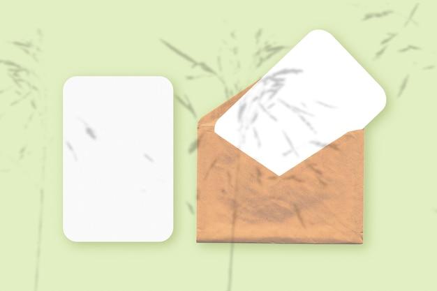 Макет с наложением теней растений на конверт с двумя листами текстурированной белой бумаги на зеленом фоне стола. горизонтальная ориентация.