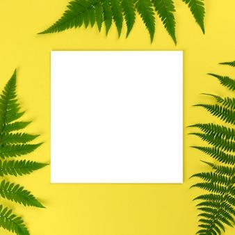 美しいシダの葉と黄色の背景に空の紙のモックアップ