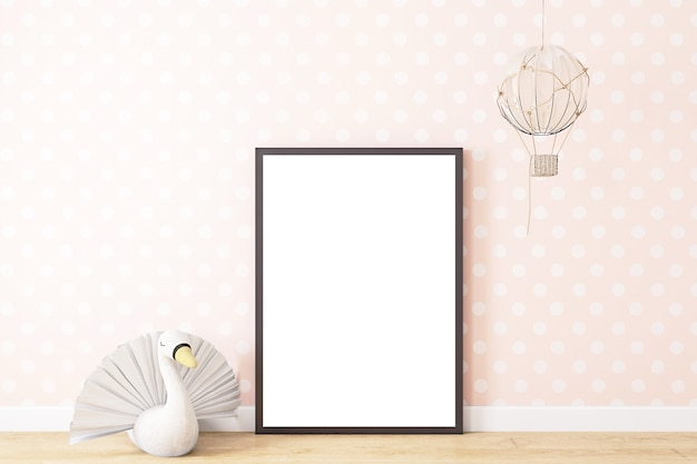 Mockup with a black frame in childrens decor