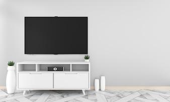 キャビネットの装飾、リビングルームの禅のスタイルにぶら下がっている空白の黒い画面のモックアップ。 3d ren