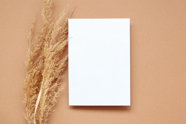 パステルベージュの背景の上に空の白紙と乾燥パンパスグラスのモックアップ。