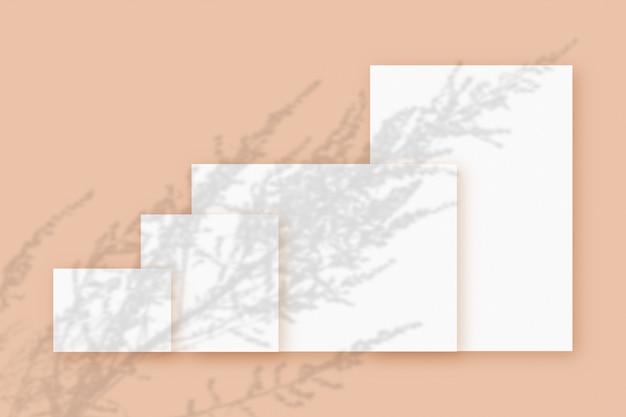 ベージュのテーブルの背景にテクスチャの白い紙のいくつかの水平および垂直シートに重ねられた植物の影のモックアップ。