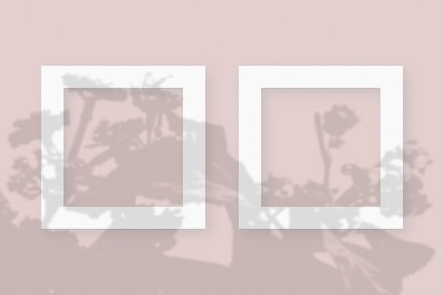 분홍색 테이블 배경에 질감이 있는 흰색 종이의 2개 정사각형 프레임에 야채 그림자가 겹쳐진 모형입니다.