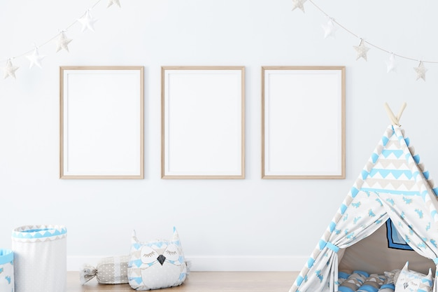 Mockup with a wood frames in childrens decor