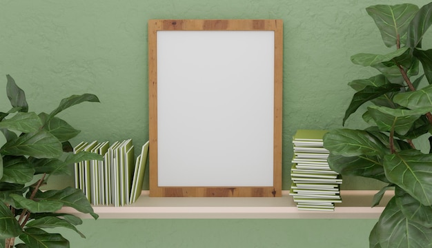 Mockup with wooden frame on white shelf with books on the sides and vegetation with green colored wall. 3d render