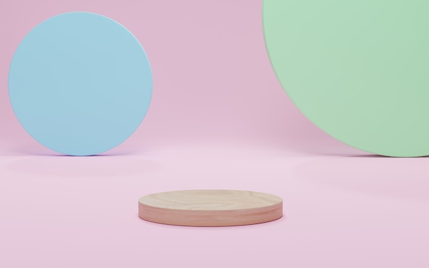 Mockup wood podium, abstract minimalism with pink scene background, 3d render, 3d illustration.