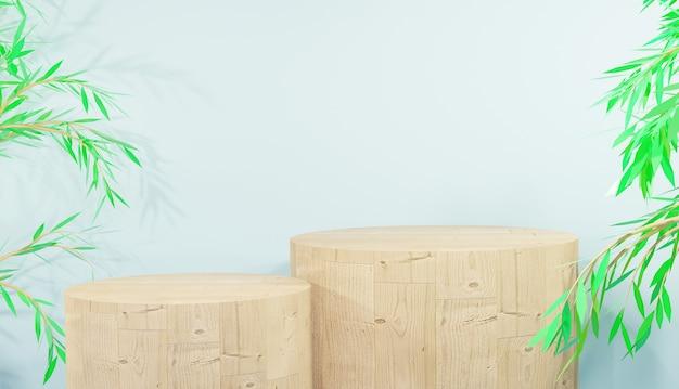 제품 및 잎 3d 렌더링을 위한 모형 나무 연단 디스플레이 premium photo