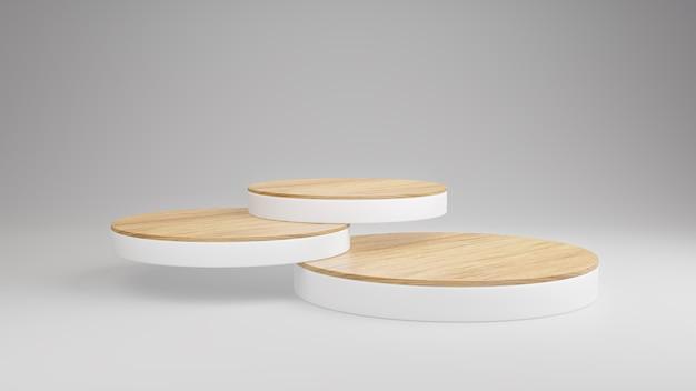 모형 나무 연단 흰색 배경, 미니멀리스트 장면, 3d 렌더링에 제품 프리젠 테이션을위한 스택 레이어를 표시합니다.