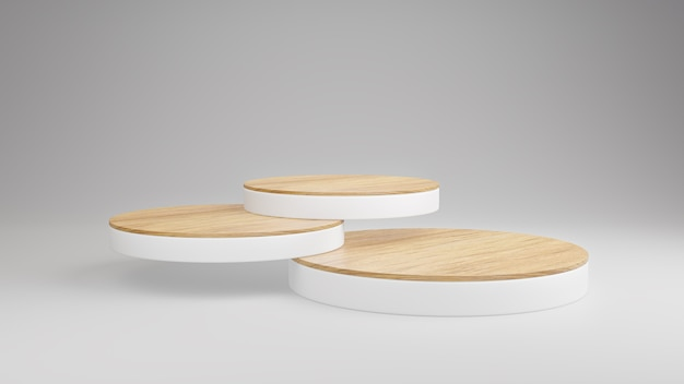 Mockup wooden podium display stack layers for product presentation on white background, minimalist scene, 3d rendering.