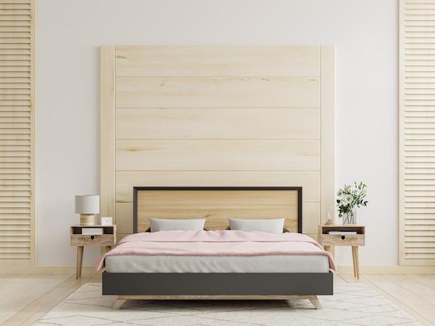 Макет деревянной стены на фоне интерьера спальни, 3d-рендеринг