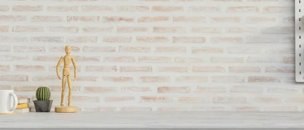 Макет рабочего пространства с украшениями копирует пространство и кирпичную стену фон 3d-рендеринга