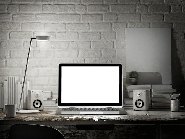 Рабочее пространство макета с пустым ноутбуком, ночная сцена.