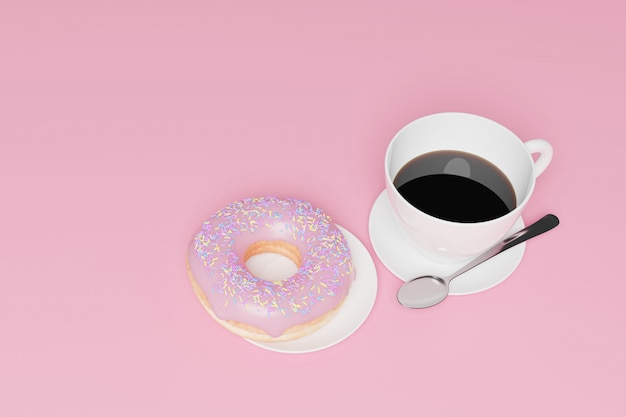Модель 3d представляет, мясо завтрака, кофе и пончик.