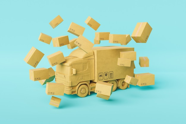 Model of cardboard truck surrounded by delivery packages
