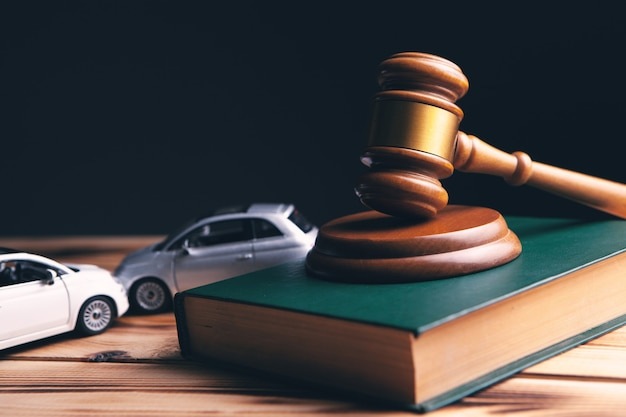 Model of cars and gavel