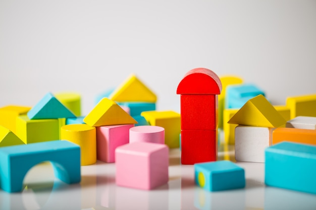 Model of city with colorful wooden blocks