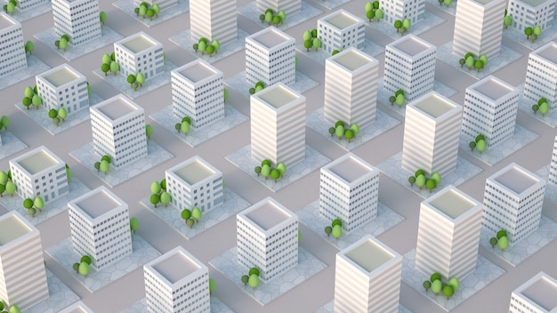 Model of the city with residential buildings. 3d illustration, 3d rendering.