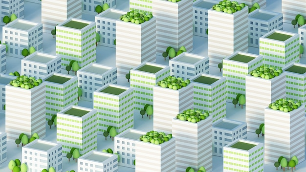 Model of the city with residential buildings 3d illustration rendering