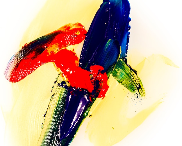 Model of colourful brush strokes on white background