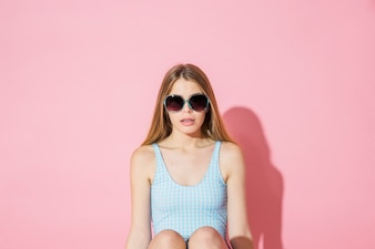 Model concept with girl wearing sunglasses
