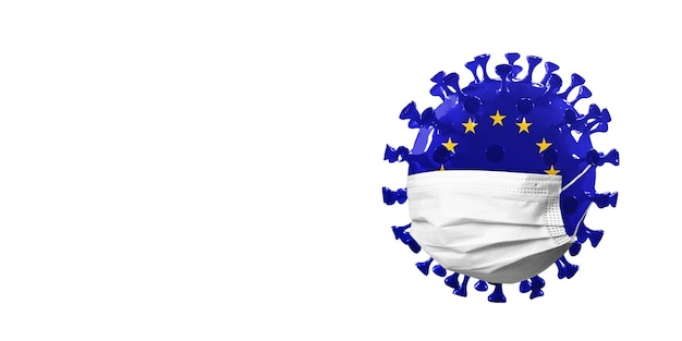 Model of covid-19 coronavirus colored in european union flag in face mask, concept of pandemic spreading, medicine and healthcare. worldwide epidemic, quarantine and isolation, protection. copyspace.