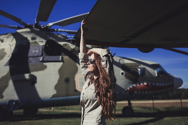 Model girl wearing military style