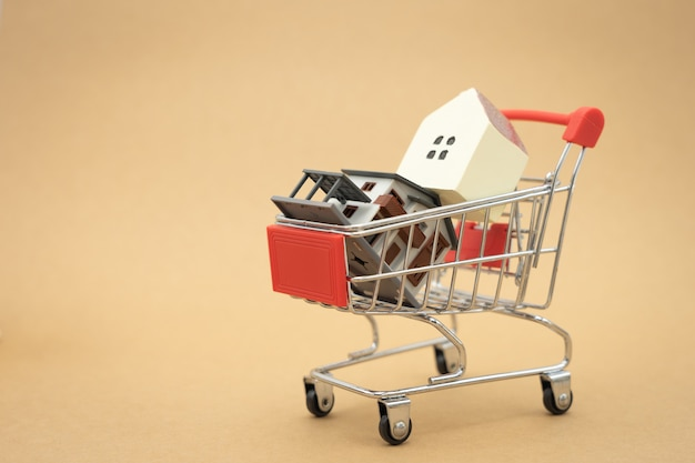 A model house model is placed on a shopping cart in the mall.using as background business concept