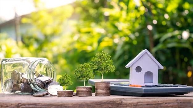 신용 개념 동전 더미에서 자라는 계산기와 나무 위의 모델 하우스