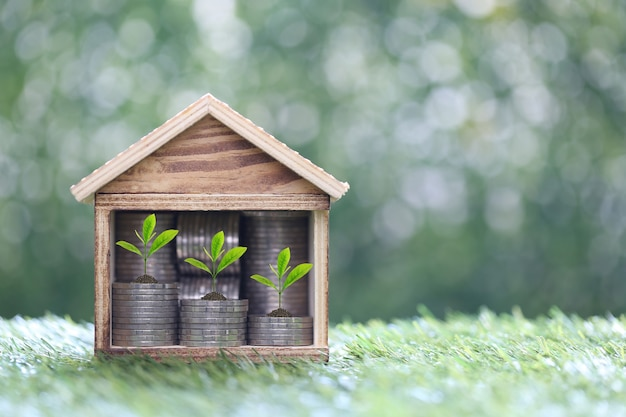 Model house with trees growing on stack of coins money with natural green background,business investment and real estate concept