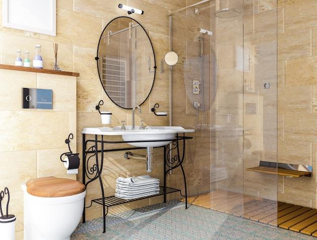 Model interior of bathroom . 3d illustration .