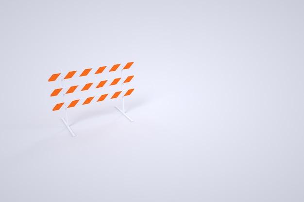 白い背景の上の建設障壁のモデル。特別な警告バリア。 3dグラフィックス