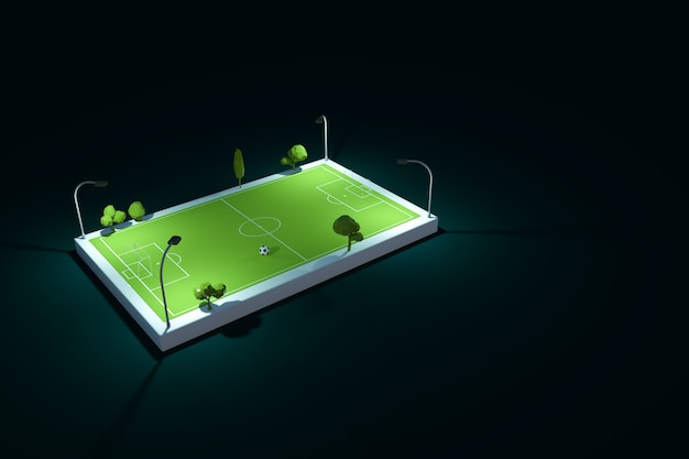 暗い、黒の孤立した背景に、夜の緑のスポーツサッカー場のモデル。照らされたスポーツサッカー場、スタジアム、遊び場。 3dグラフィックス、上面図