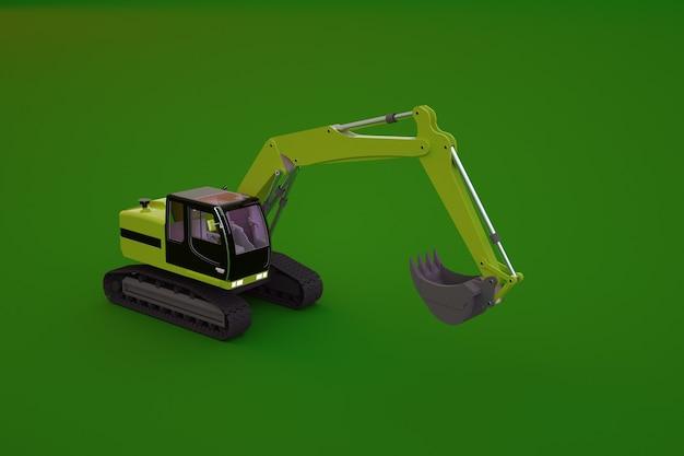 緑の孤立した背景上の黄色の掘削機のモデル。背景に大きなバケツがある大型の重い建設機械のオブジェクト。 3dグラフィックス、クローズアップ