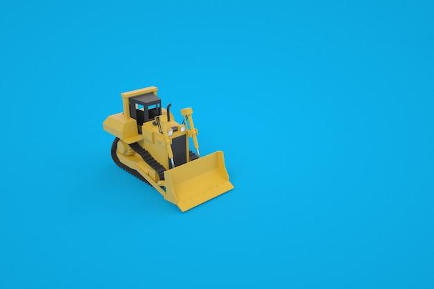 バケツ付きの黄色いトラクターのモデル。色の背景。建設のための特別な機器。 3dグラフィックス。青い背景の上の孤立したトラクター。