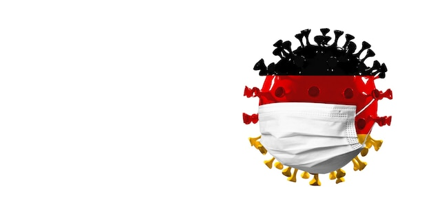 Covid-19 코로나바이러스 모델은 독일 국기에 얼굴 마스크, 전염병 확산, 의학 및 건강 관리의 개념입니다. 전세계 전염병, 검역 및 격리, 보호. 카피스페이스.