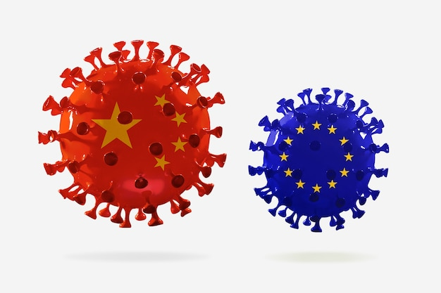 Covid-19 코로나바이러스 모델은 중국과 eu 깃발, 전염병 확산, 의학 및 건강 관리의 개념입니다. 성장, 검역 및 격리, 보호가 있는 전세계 전염병.