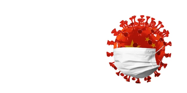 Covid-19 코로나바이러스 모델은 얼굴 마스크의 중국 국기, 전염병 확산, 의학 및 건강 관리의 개념입니다. 전세계 전염병, 검역 및 격리, 보호. 카피스페이스.
