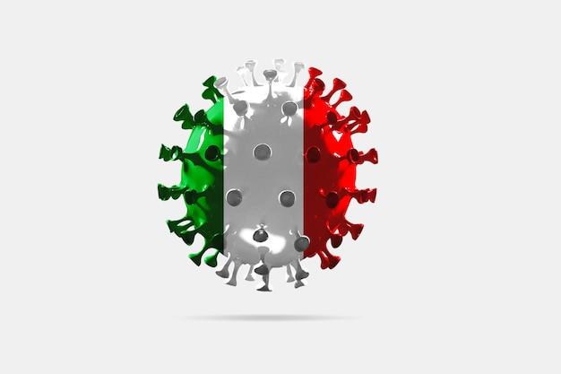 이탈리아 국기에 색칠된 covid-19 코로나바이러스 모델, 전염병 확산, 의학 및 의료의 개념. 성장, 검역 및 격리, 보호가 있는 전세계 전염병.