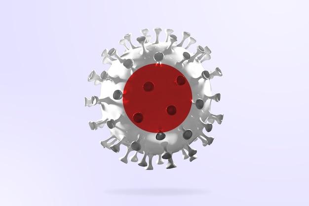 일본 국기에 색칠된 covid-19 코로나바이러스 모델, 전염병 확산, 의학 및 건강 관리의 개념. 성장, 검역 및 격리, 보호가 있는 전세계 전염병.
