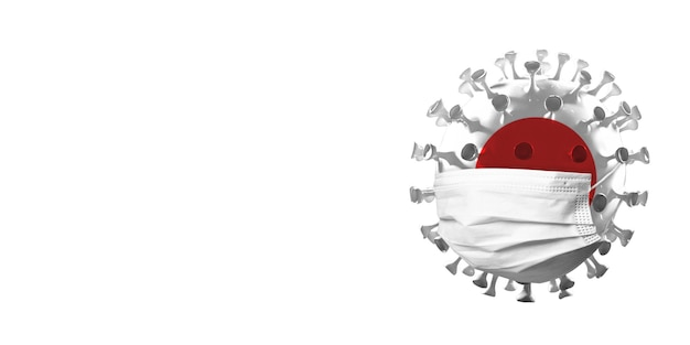 Covid-19 코로나바이러스 모델은 얼굴 마스크, 전염병 확산, 의학 및 건강 관리의 개념으로 일본 국기에 색칠되어 있습니다. 전세계 전염병, 검역 및 격리, 보호. 카피스페이스.