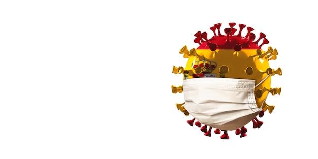Covid-19 코로나바이러스 모델은 얼굴 마스크, 전염병 확산, 의학 및 건강 관리의 개념으로 스페인 국기에 색칠되어 있습니다. 전세계 전염병, 검역 및 격리, 보호. 카피스페이스.